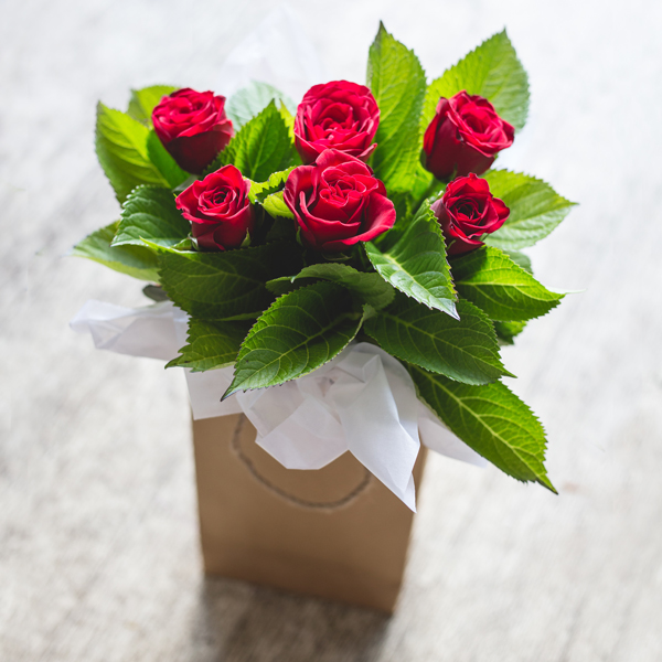 6 Red Roses In Craft Paper Bag Auckland Flowers